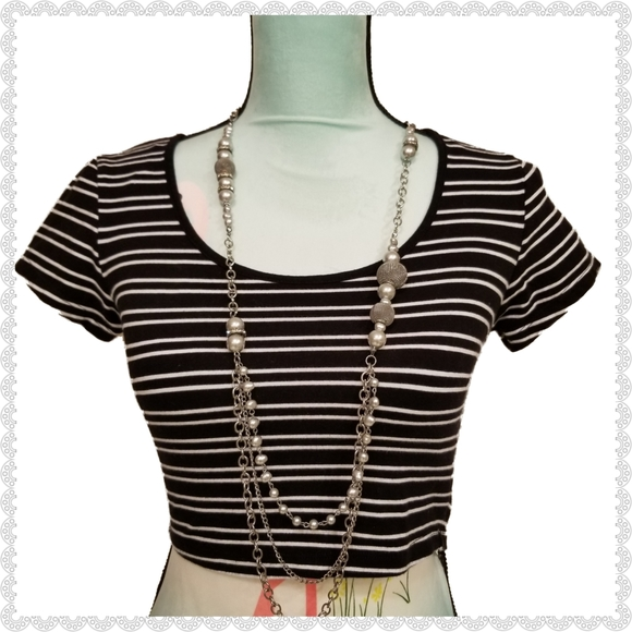 Ambiance Tops - 3/$10 Ambiance Apparel Striped Crop Top Size Small